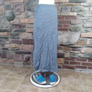 Elieen Fisher gray linen blend maxi length skirt L